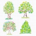 Set of beautiful green trees. Doodle.