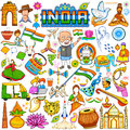 Set of beautiful Indian design element for Happy Independence Day or Republic Day of India decoration