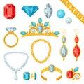 Set of beautiful jewelry and precious stones
