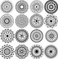 A set of beautiful mandalas and lace circles Royalty Free Stock Photo