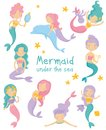 Set of beautiful mermaids. Little girls with colorful hair and fish tails. Fantastic sea life. Mythical marine creatures Royalty Free Stock Photo