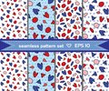 Set of beautiful romantic seamless patterns with hearts and geometric fugures.