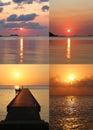 Set of beautiful sunsets bright wonderful marine Royalty Free Stock Image