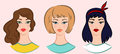 Set of beautiful young girls with various hair style, vector illustrations Royalty Free Stock Photo