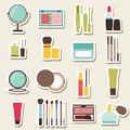 Set of beauty and cosmetics colorful icons makeup vector illustration Stock Photo