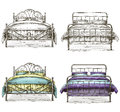 Set of beds drawing sketch style vector eps Royalty Free Stock Photo