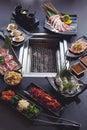 Set of beef and seafood for Yakiniku Royalty Free Stock Photo