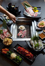 Set of beef and seafood for Yakiniku Royalty Free Stock Photo
