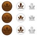 Set of Beer Badges, Labels, Logos in Brown Color