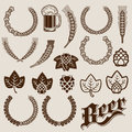 Set beer ingredients ornamental designs Stock Image