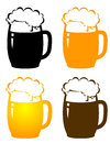 Set of beer mugs with dark and light and bubbles Royalty Free Stock Images