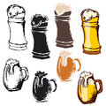 Set of beer mugs.  glass icons on white background Royalty Free Stock Photo