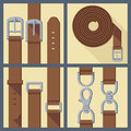 Set of belt buckle and carabiner four objects in flat style Stock Images
