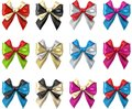Bicolour satin bows isolated on white. Royalty Free Stock Photo