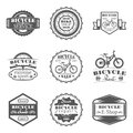 Set of bicycle shop, rent, service, sale, club, repair in monochrome style logos, emblems, labels and badges. Royalty Free Stock Photo