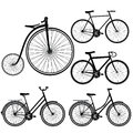 Set of bicycles silhouette on white background Royalty Free Stock Photo