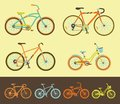 Set of bicycles variations different style Stock Images
