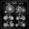 Set of bicycles in vintage style Royalty Free Stock Photography