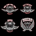 Set of biker emblem templates with winged motorcycle engines. Design element for logo, label, emblem, sign, poster, t shirt