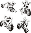 Set of bikers Royalty Free Stock Images