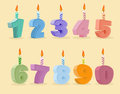 Set birthday candles cartoon numbers. Vector illustration Royalty Free Stock Photo