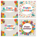Set of Birthday card with cute birds,flowers and balloons,Ice Cream gifts.