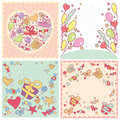 Set of birthday cards Royalty Free Stock Images