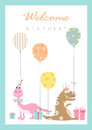 Set of birthday cards,poster,template,greeting cards,animals,dinosaurs,eggs,Vector illustrations Royalty Free Stock Photo