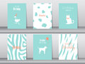 Set of birthday cards,poster,template,greeting cards,cake,bird,Vector illustrations Royalty Free Stock Photo