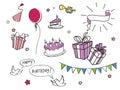 Set of Birthday doodles
