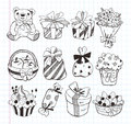 Set of birthday gift icons cartoon vector illustration Royalty Free Stock Image