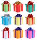 Set of birthday gifts christmas presents portrait format boxes isolated on white background Royalty Free Stock Photo