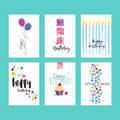 Set of birthday greeting card templates