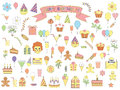 Set of birthday icons color Royalty Free Stock Photo