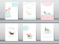Set of birthday invitations cards,poster,greeting,template,animals,dogs,Vector illustrations