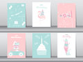Set of birthday invitations cards,poster,greeting,template,cake,rabbit,flamingo,bear,Vector illustrations Royalty Free Stock Photo