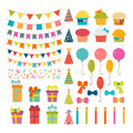 Set of birthday party design elements. Colorful balloons, flags, Royalty Free Stock Photo