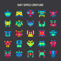 Set of 8-bit color space monsters Royalty Free Stock Photo