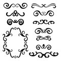 Set of black abstract curly headers, design element set isolated on white background.