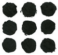 Set of black acrylic ink brush strokes spots grunge design element Stock Photography