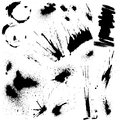 Set of black blots and ink splashes abstract elements for design in grunge style Royalty Free Stock Photos