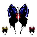 Set of black butterfly with open wings Royalty Free Stock Photo