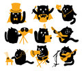 Set of black cats creative professions vector characters with yellow objects different Royalty Free Stock Photo