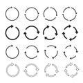 Set of black circle arrows