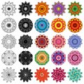 Set of black and color stylized flowers Royalty Free Stock Photo