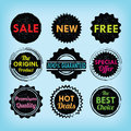 Set of black and colorful labels, badges and stickers Royalty Free Stock Photo