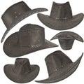 Set Of Black Cowboy Hat Royalty Free Stock Photo