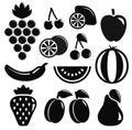 Set black fruit objects isolated on white background Royalty Free Stock Photos