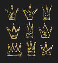 Set of 9 black and gold sketch drawing princess and the king cro