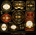 Set of black-golden labels Royalty Free Stock Image